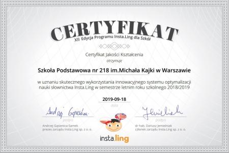 Insta.ling - Certyfikat dla szkoły